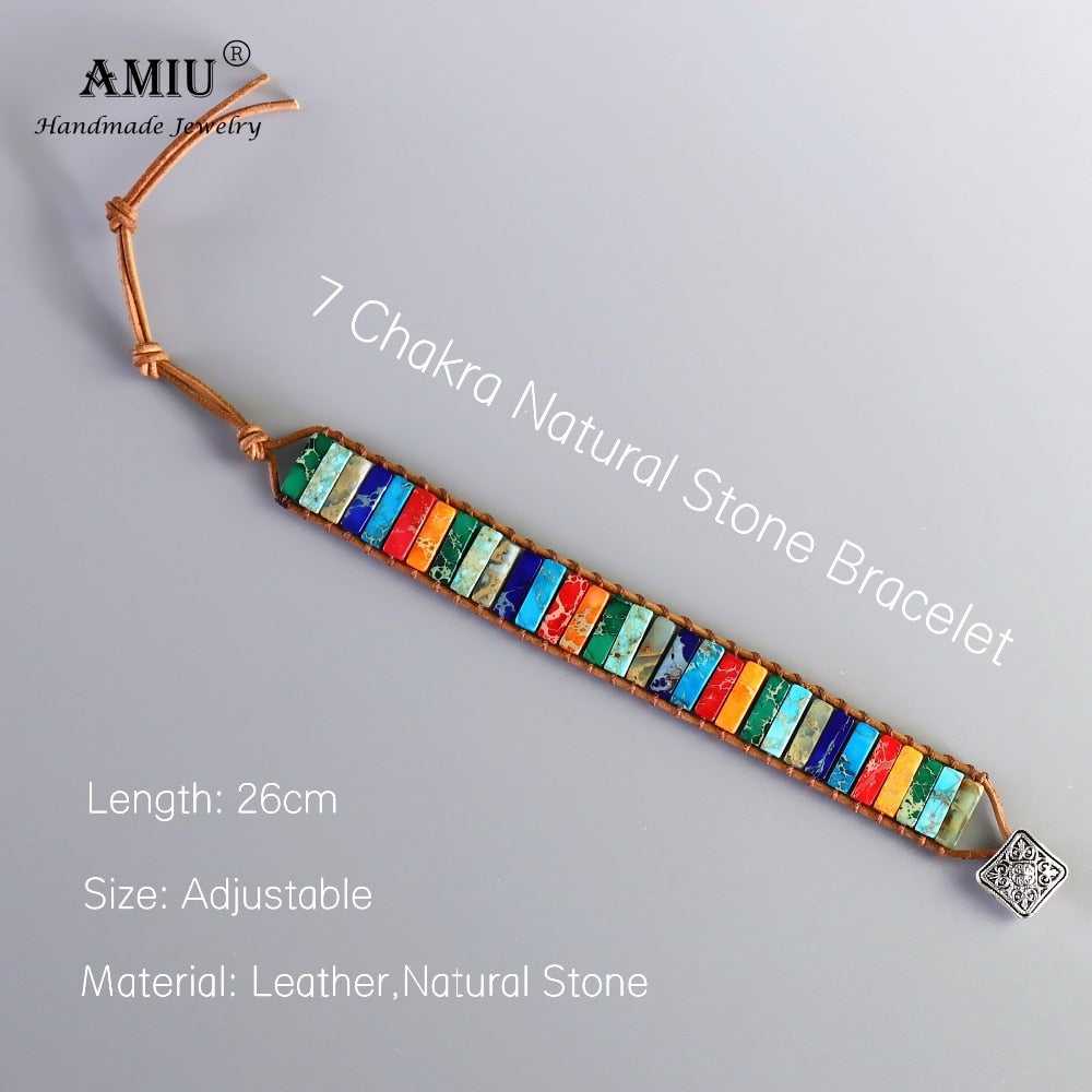 Handmade 7 Chakra Natural Tube Beads Stone Bracelet - women accessories - 99fab.com