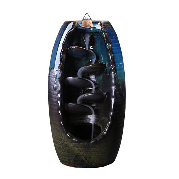 Ceramic Backflow Waterfall Smoke Incense Burner Censer Holder - decor - 99fab.com