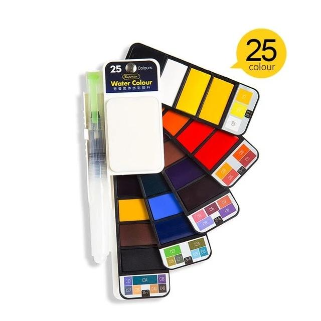 Watercolor Paint Set With Water Brush Pen Foldable Travel Water Color - Watercolor Paint Set - 99fab.com