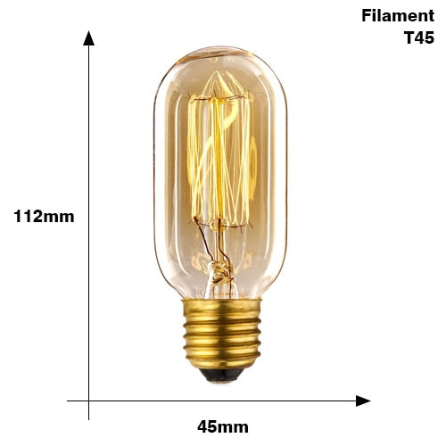 Retro Edison Light Bulb Filament Vintage Ampoule Incandescent Lamp E27 220V 40W
