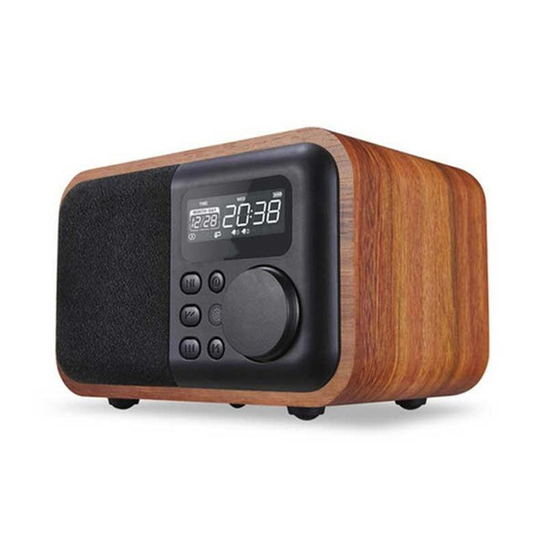 Wooden Bluetooth Speaker FM Radio Alarm Clock Display Time USB TF Card