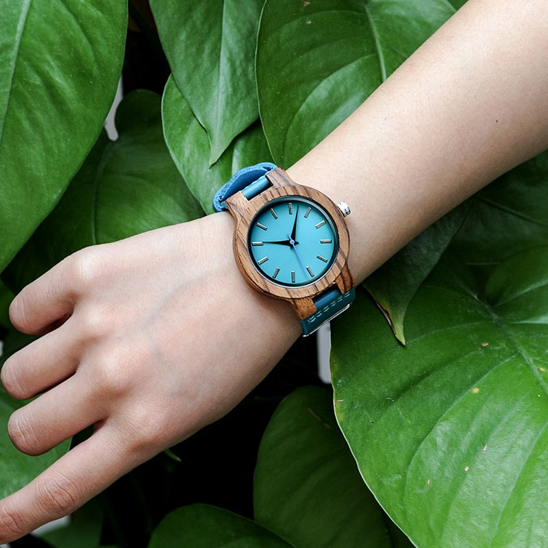 BOBO BIRD Lovers Watches Men Women Wooden Turquoise Blue Timepieces Relogio Masculino - women watches - 99fab.com