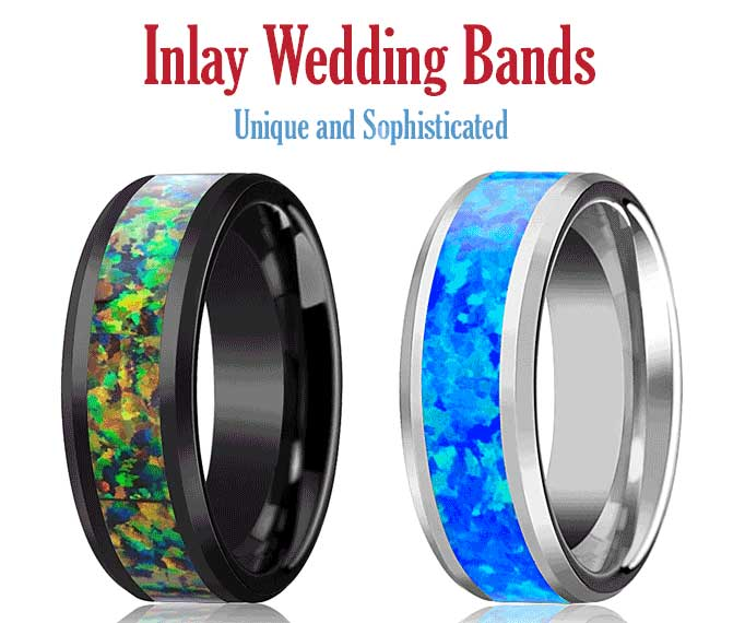 Unique Inlay Tungsten Rings