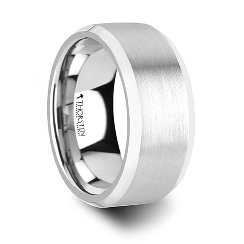 PETERSBURG Brushed Center White Tungsten Ring with Beveled Edges - 4mm - 10mm