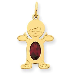 14K Boy 6x4 Oval Genuine Garnet-January - Pendant - Aydins_Jewelry