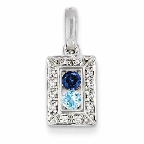 14KW Family Jewelry 2 Genuine Stone & Diamond Set Pendant - AydinsJewelry
