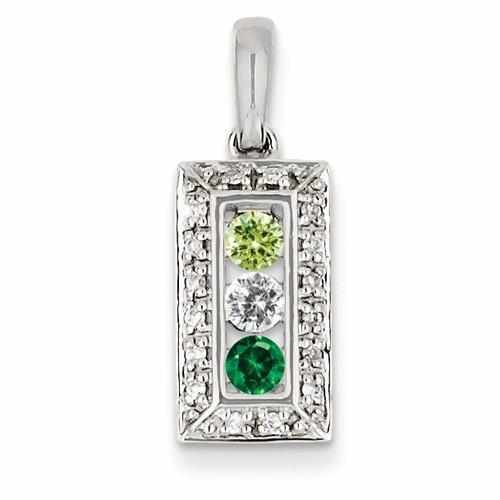 14KW Family Jewelry 3 Genuine Stone & Diamond Set Pendant - AydinsJewelry