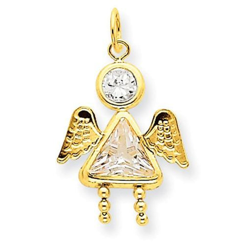 Image of 14k April Girl Angel Birthstone Charm - Pendant - Aydins_Jewelry