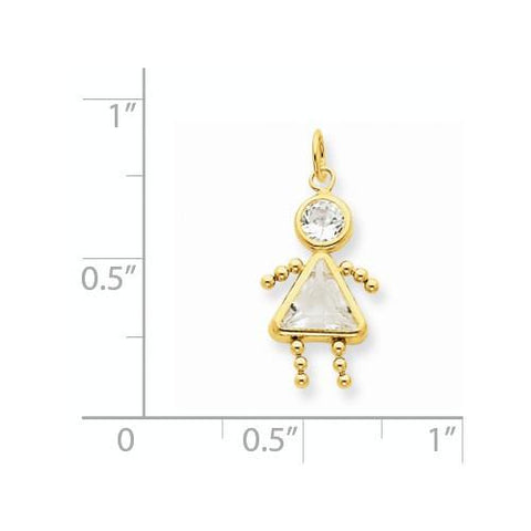 Image of 14k April Girl Birthstone Charm - Pendant - Aydins_Jewelry