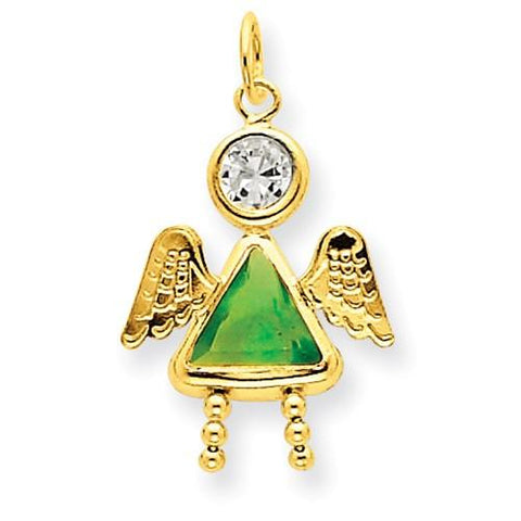 14k August Girl Angel Birthstone Charm - Pendant - Aydins_Jewelry