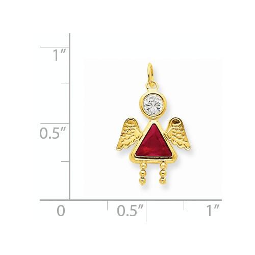 14k July Girl Angel Birthstone Charm - Pendant - Aydins_Jewelry