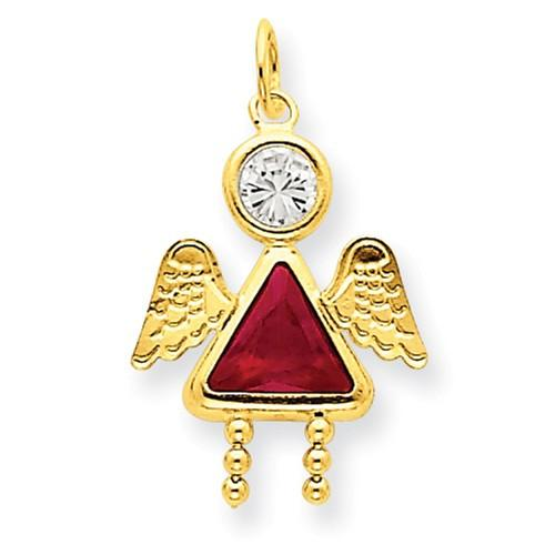 14k July Girl Angel Birthstone Charm - AydinsJewelry