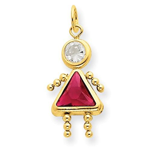 14k July Girl Birthstone Charm - AydinsJewelry