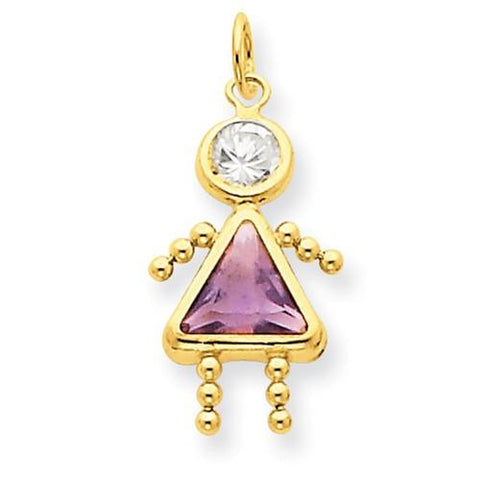 Image of 14k June Girl Birthstone Charm - Pendant - Aydins_Jewelry