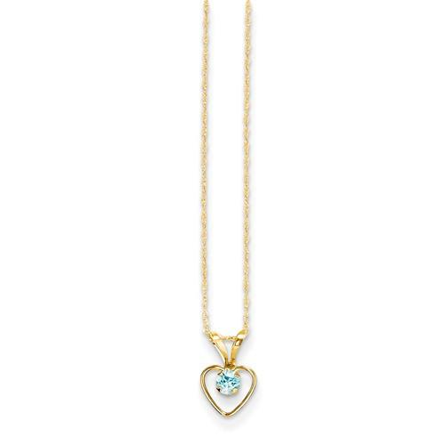 14k Madi K 3mm Blue Zircon Heart Birthstone Necklace - AydinsJewelry