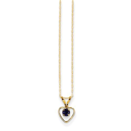14k Madi K 3mm Sapphire Heart Birthstone Necklace - Pendant - Aydins_Jewelry