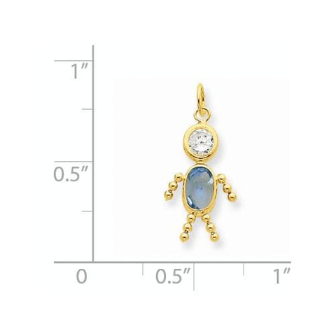 Image of 14k March Boy Birthstone Charm - Pendant - Aydins_Jewelry