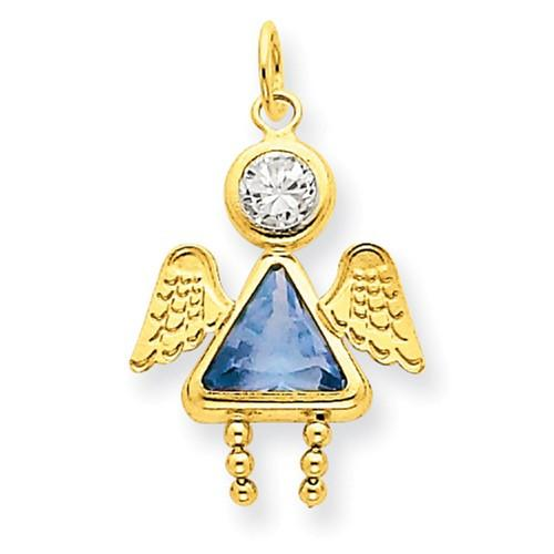 14k March Girl Angel Birthstone Charm - AydinsJewelry