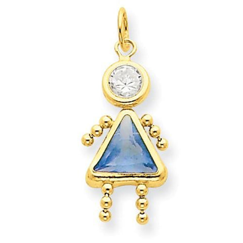 Image of 14k March Girl Birthstone Charm - Pendant - Aydins_Jewelry