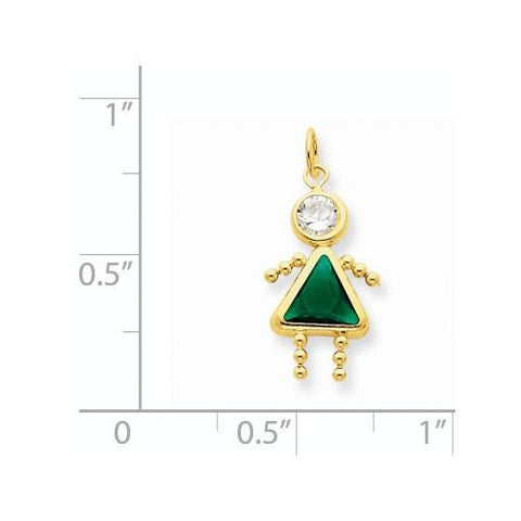 Image of 14k May Girl Birthstone Charm - Pendant - Aydins_Jewelry