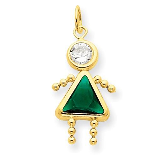 14k May Girl Birthstone Charm - AydinsJewelry