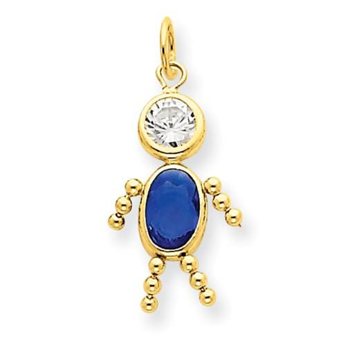 14k September Boy Birthstone Charm - Pendant - Aydins_Jewelry