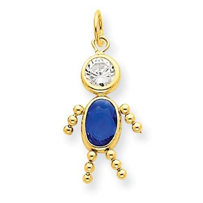 14k September Boy Birthstone Charm - AydinsJewelry