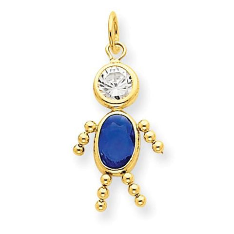 Image of 14k September Boy Birthstone Charm - Pendant - Aydins_Jewelry