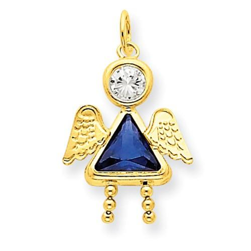 14k September Girl Angel Birthstone Charm - AydinsJewelry
