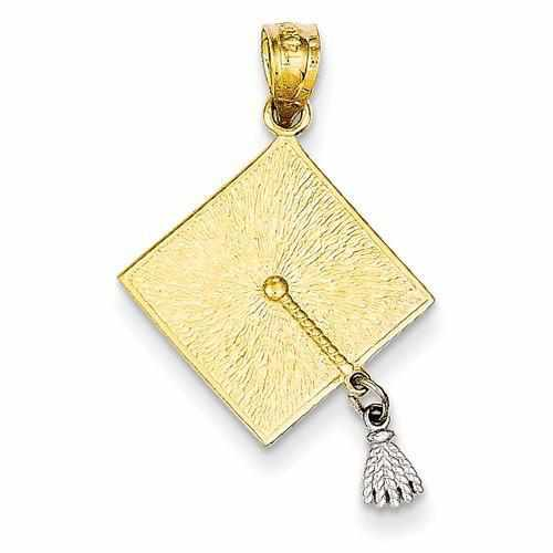 14k Two-Tone 3-D Graduation Cap W/Moveable Tassel Pendant - AydinsJewelry