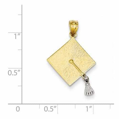 Image of 14k Two-Tone 3-D Graduation Cap W/Moveable Tassel Pendant - Pendant - Aydins_Jewelry