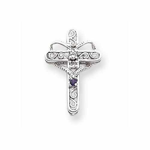 14k White Gold Three Genuine Mother's Cross Pendant - AydinsJewelry