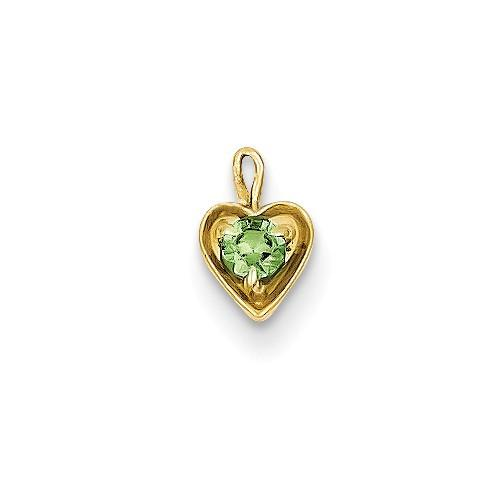 14ky August Synthetic Birthstone Heart Charm - Pendant - Aydins_Jewelry