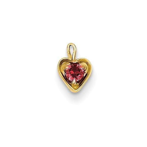 14ky July Synthetic Birthstone Heart Charm - Pendant - Aydins_Jewelry