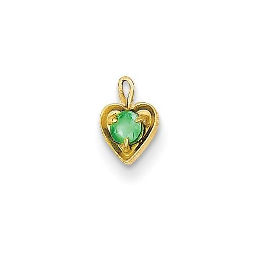 14ky May Synthetic Birthstone Heart Charm - AydinsJewelry