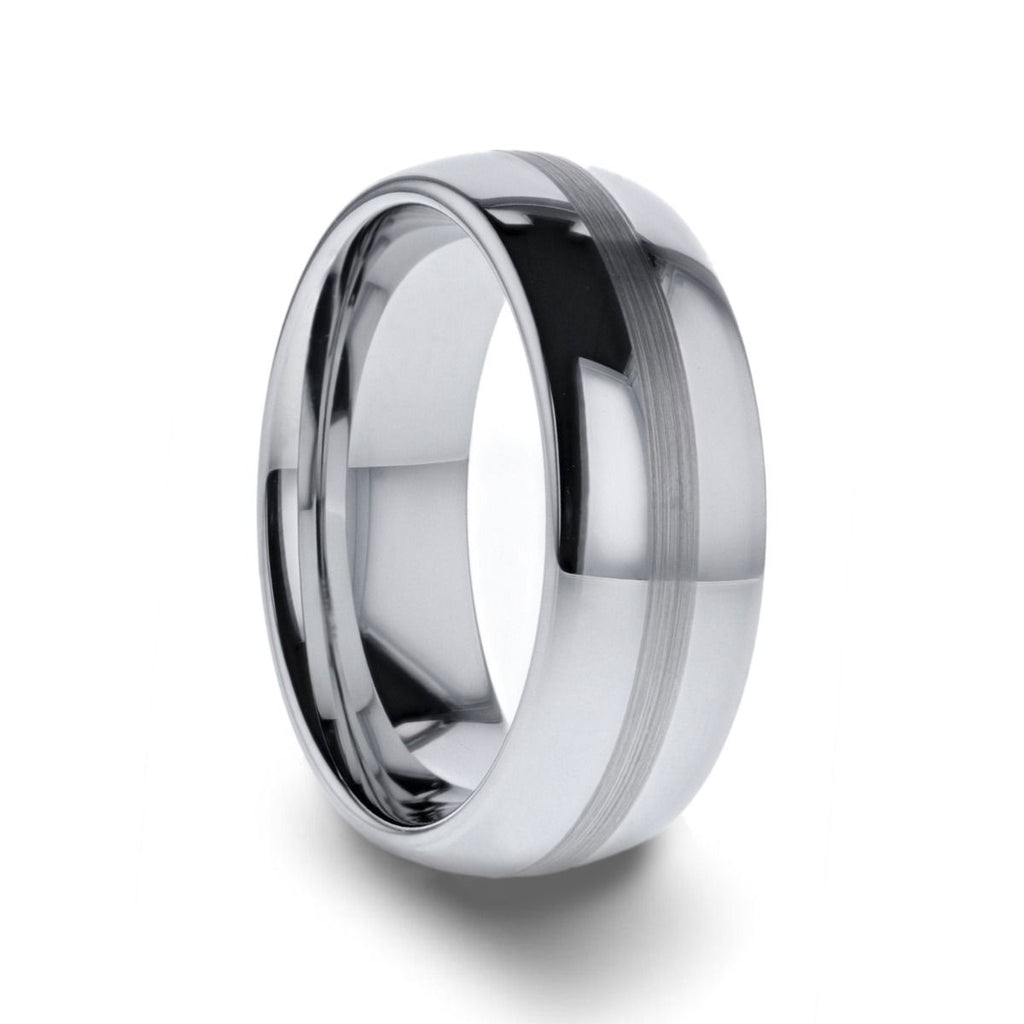NELSON Domed Titanium Ring with Brushed Stripe - 8 mm