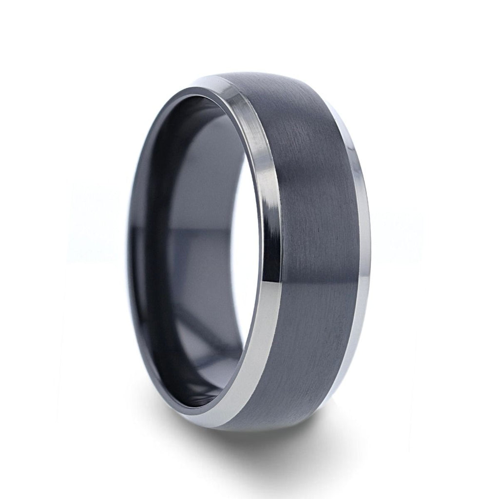 NOLAN Domed Black Titanium Wedding Band with Polished Beveled Edges - 8mm