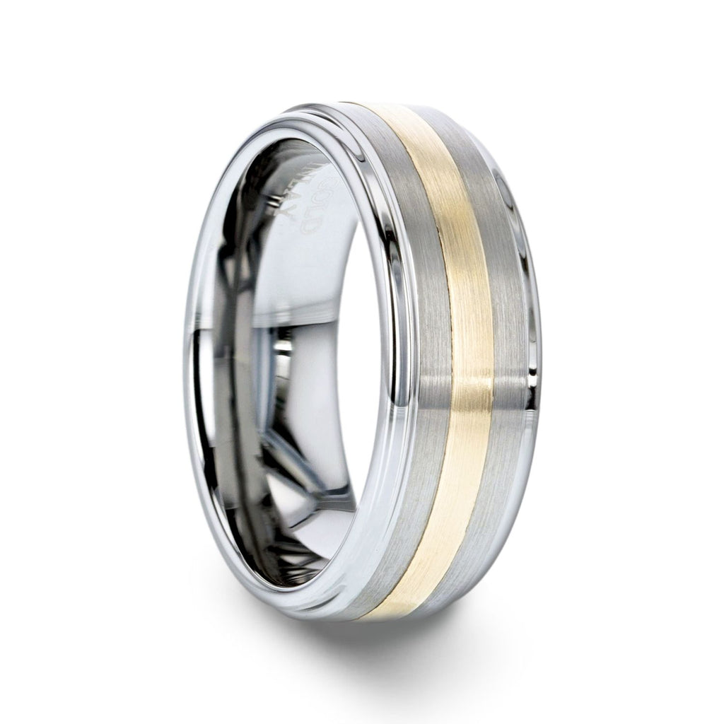 LONDON Gold Inlaid Raised Satin Finish Tungsten Ring - 8 mm