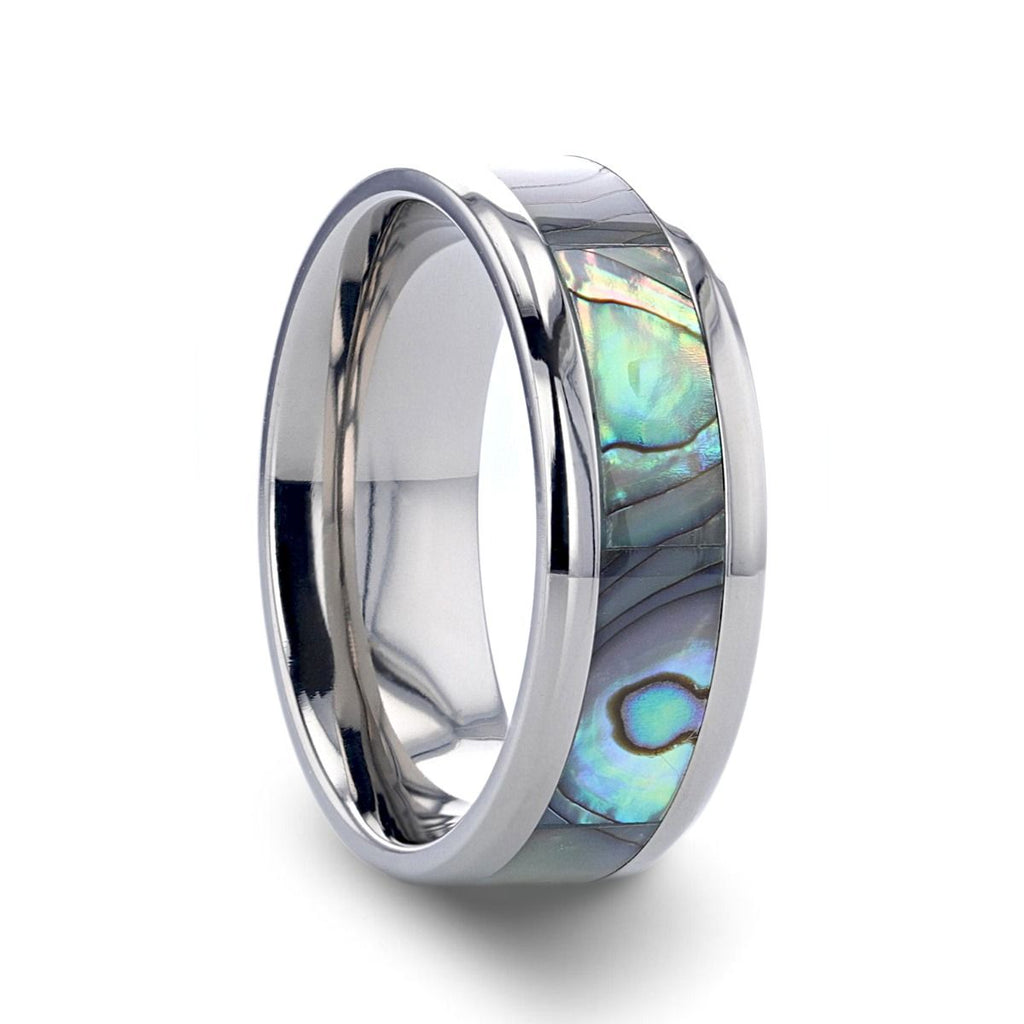 KAUI Titanium Polished Finish Mother Of Pearl Inlaid Men's Beveled Wedding Band - 6mm & 8mm