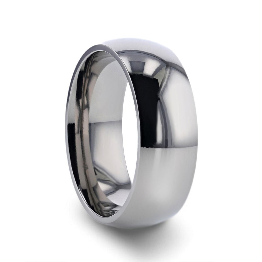 PETERSON Titanium Polished Finish Domed Men's Wedding Band - 6mm & 8mm