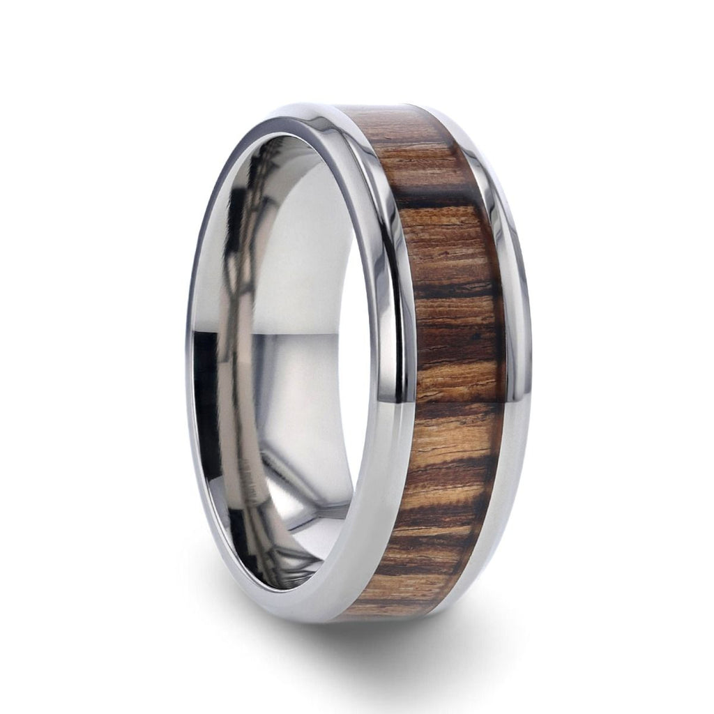 ZINGANA Titanium Ring with Beveled Edges and Real Zebra Wood Inlay - 8mm