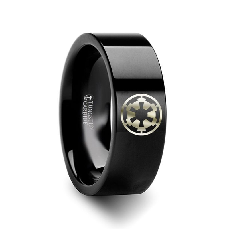 Sith Imperial Emblem Star Wars Black Tungsten Engraved Ring - 10mm - 12mm