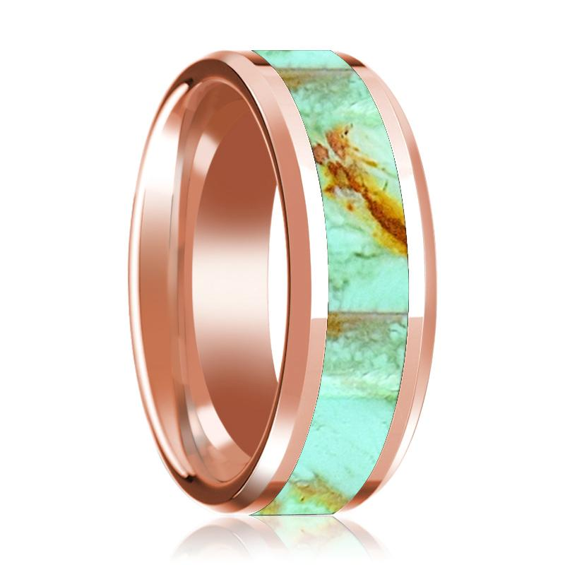 14K Rose Gold Wedding Band Inlaid with Turquoise Stone Beveled Edge Polished Ring - Rings - Aydins_Jewelry