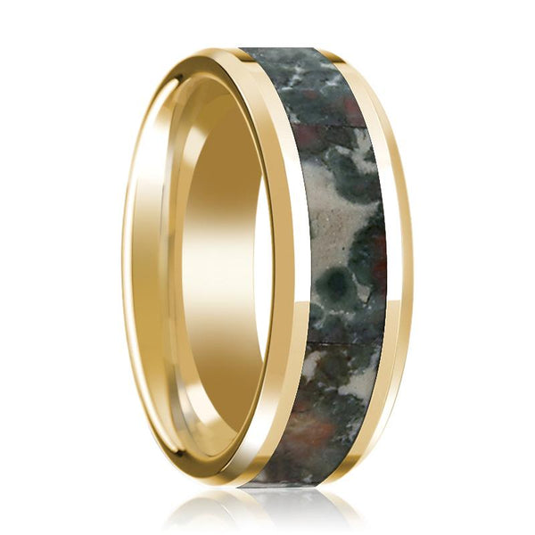 Yellow Gold Wedding Band 14k with Coprolite Inlay Beveled Edge Polished Design