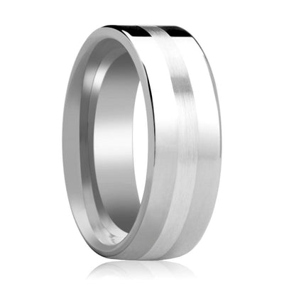 Tungsten Carbide Wedding Band with Sterling Silver Stripe Inlay Flat Polished Finish 6mm, 8mm