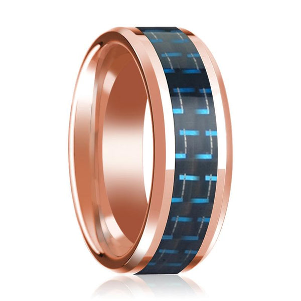 Black & Blue Carbon Fiber Inlaid Wedding Band 14K Rose Gold Beveled Edge Polished Design - AydinsJewelry