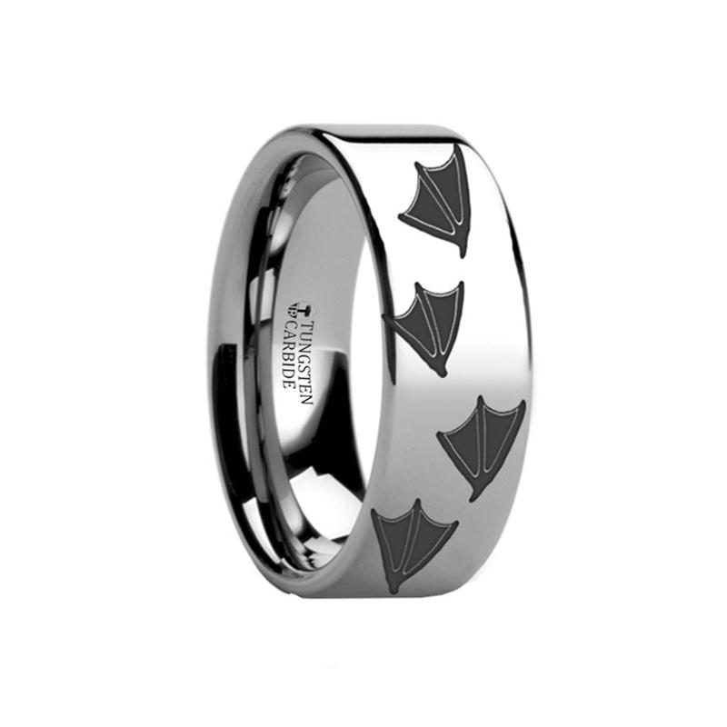 Animal Design Ring - Duck Track Print -  Laser Engraved - Flat Tungsten Ring - 4mm - 6mm - 8mm - 10mm - 12mm - Rings - Aydins_Jewelry