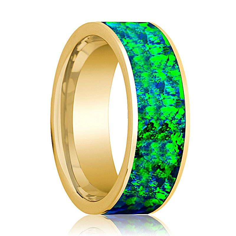 Mens Wedding Band 14K Yellow Gold with Emerald Green and Sapphire Blue Opal Inlay Flat Polished Design - AydinsJewelry