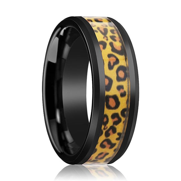 Black Ceramic Ring - Cheetah Print Animal Design Inlay - Ceramic Wedding Band - Beveled - Polished Finish - 6mm - 8mm - AydinsJewelry