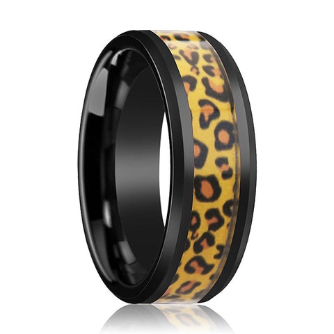 Image of ACINONYX Men's Black Ceramic Ring with Cheetah Print Animal Design Inlay and Bevels - 6MM - 8MM - Rings - Aydins_Jewelry